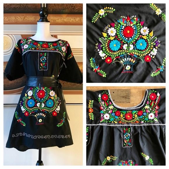 d654c21b5d23b5 Handmade Tops | Embroidered Mexican Topdress Black 3x | Poshmark